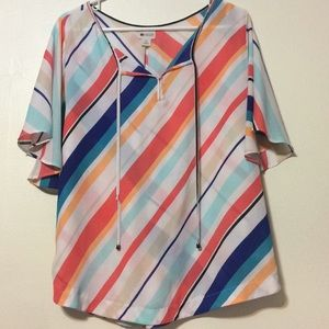 Stylus sheer multicolored diagonal striped top
